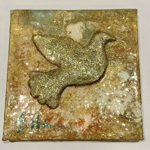 Other - Mixed Media Original Signed Art Glittered Dove